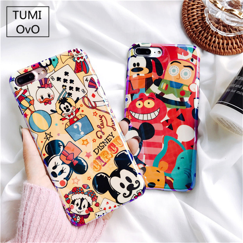For iPhone X 10 Fashion Mickey Minnie Mouse Blue Light Case For iPhone 6 6s 7 Plus Soft TPU Silicon Cartoon Cute Back Phone Case