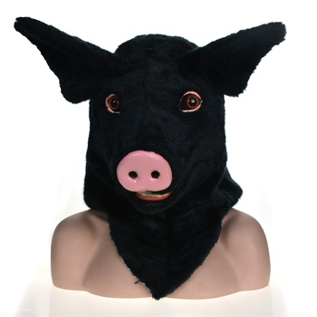 Masks masquerade moving mouth animal party Black pig mask for adults