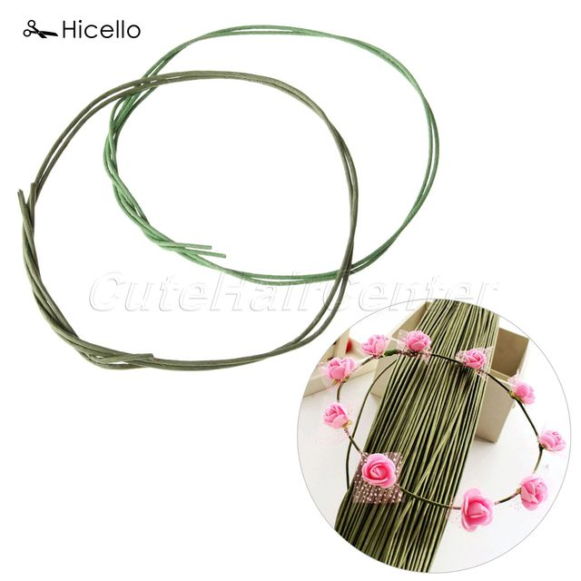 10 Pcs lot Flower Stub Hicello Batang Kertas plastik Hijau Floral Pita Besi  Kawat a4b883360f
