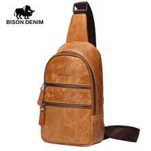 BISON DENIM New 2017 designer Shoulder & Crossbody Bags men Yellow leather genuine Messenger bags for men W2445