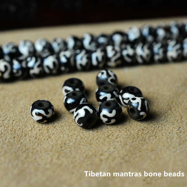 US $0 99  TSB0231 Wholesale Tibetan Mantras Yak Bone Loose Beads 8 9mm  20beads lot-in Beads from Jewelry & Accessories on Aliexpress com   Alibaba