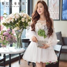 dabuwawa new fall spring stereo flowers gauze sexy long sleeved party dress women pink doll