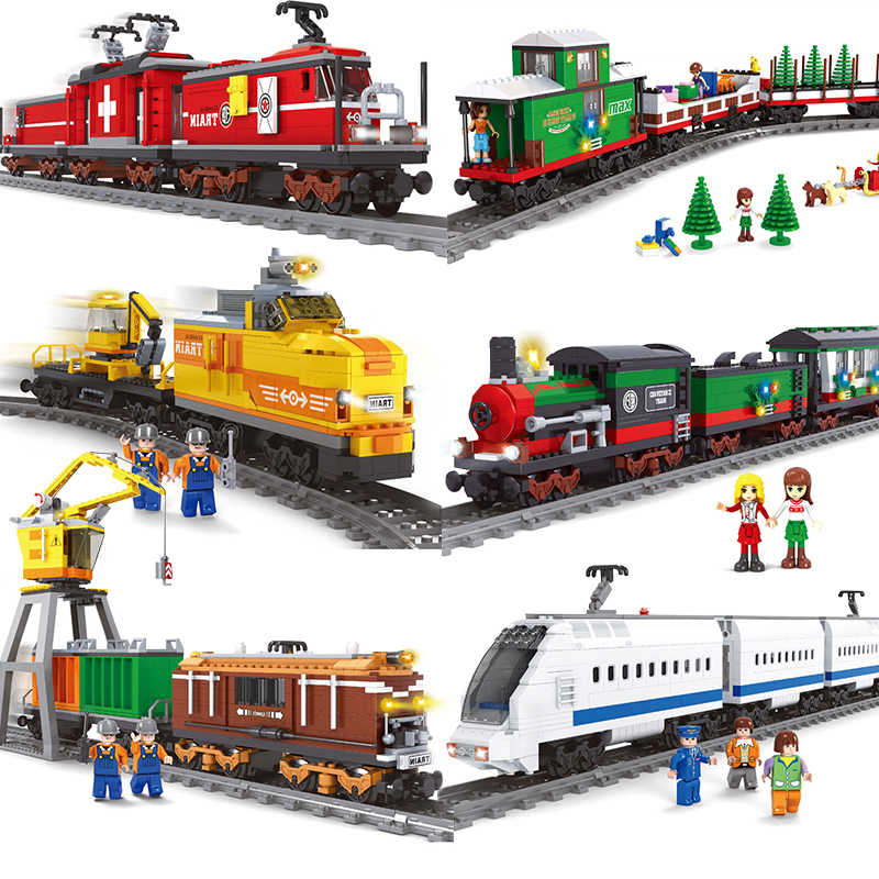 Ausini compatible for train electric power cargo sets city tracks rail building blocks brick Christmas car toy technic