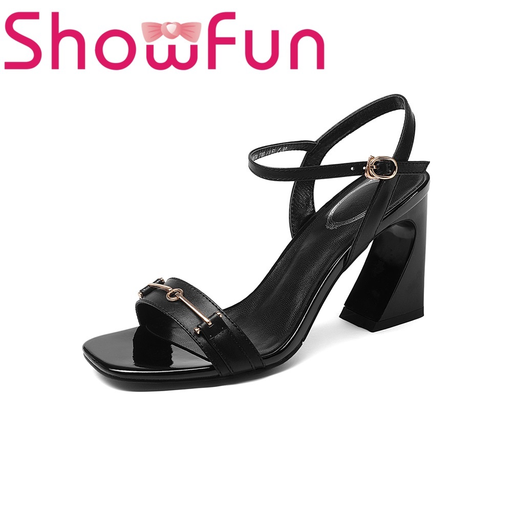 Showfun genuine leather office&career fashion solid front&rear metal decoration strap strange style heel sandals woman shoes showfun 2018 genuine leather retro faux