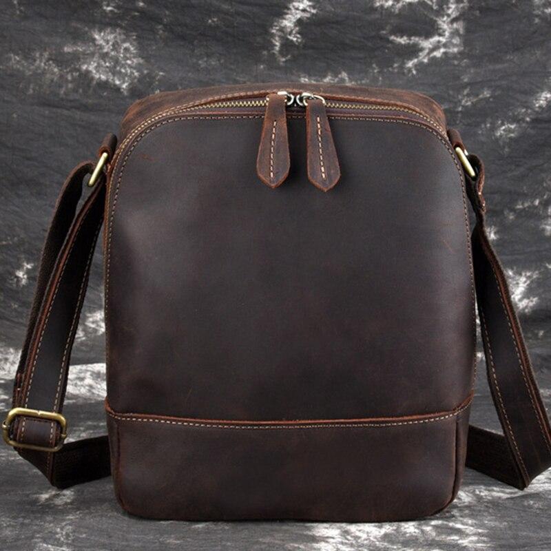 Сумки через плечо из натуральной кожи, мужские портфели, ретро тренд, вертикальные, высокое качество, Crazy Horse, Воловья кожа, слинг, сумка на плечо