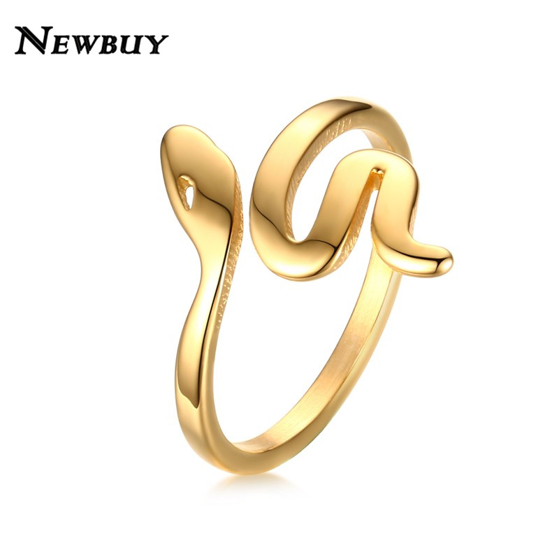 NEWBUY Fashion Gold Color Stainless Steel Snake Ring For Women High Quality Female Party Ring Jewelry Gift Dropship