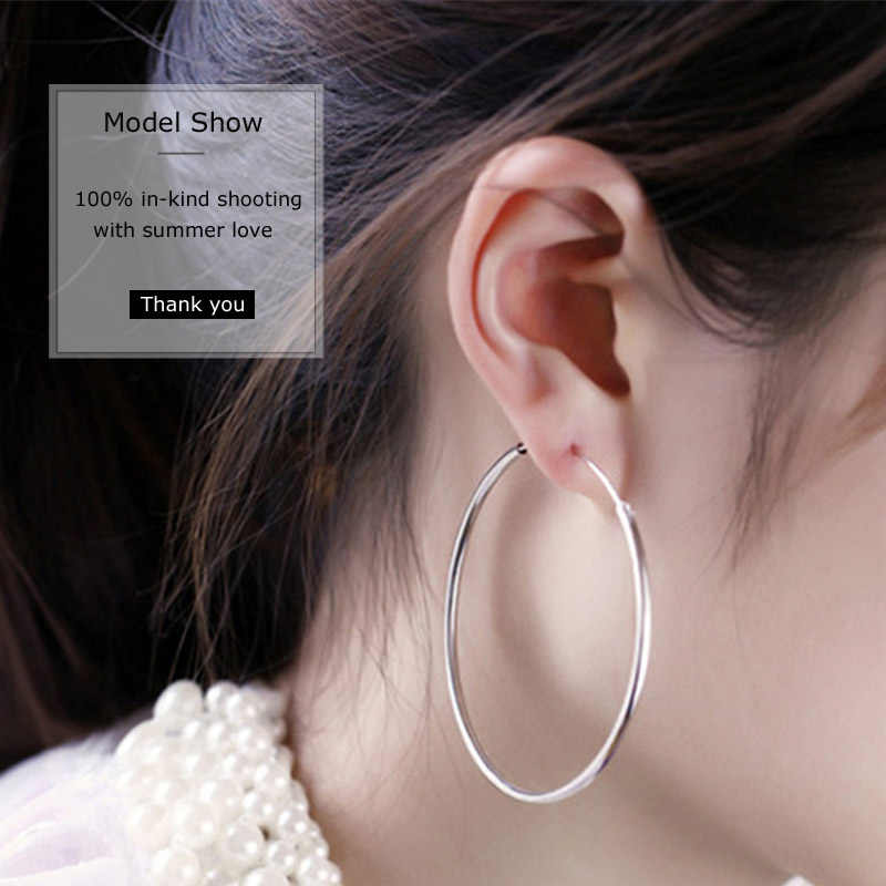a5a10fd5f ... 2018 New Genuine 925 Sterling Silver Small Big size Hoop Earrings Real Silver  925 Brincos Fine ...