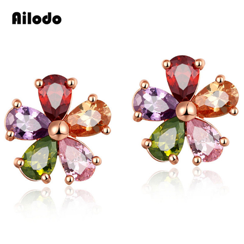 Ailodo Women Fashion CZ Crystal Earrings Colorful Flower Stud Rose Gold Color Party Wedding Jewelry Gift LD110