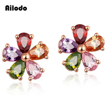 Ailodo Women Fashion CZ Crystal Earrings Colorful Flower Stud Earrings Rose Gold Color Earrings Party Wedding Jewelry Gift LD110 colorful enamel gold color round party earrings