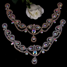 Shine Pendant Silver Crystal Rhinestones Applique for Wedding Dresses Necklace Dress Collar Applique Sew on