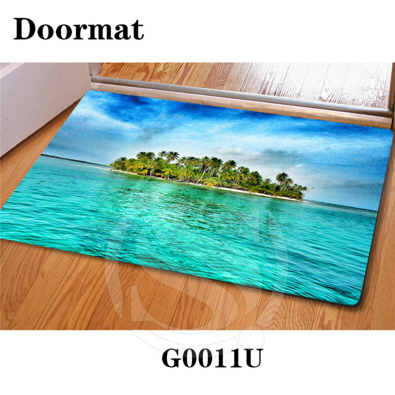 Free Shipping Custom Caribbean beach DoorMat Art Pattern Printed Carpet Floor Hall Bedroom Cool Pad Fashion Rug SQ0626-LQ209P