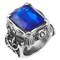 Vintage Stainless Steel Band deep blue Crystal Gothic Dragon Claw Biker Men's Ring