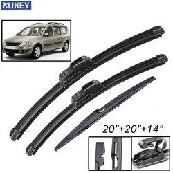 Xukey 3Pcs/set Front Rear Windscreen Wiper Blades Set For Dacia Renault Logan MK1 MCV 2012 2011 2010 2009 2008 2007 20