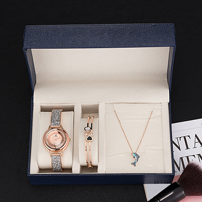 ZONMFEI brand quartz wristwatches women stainless steel bracelet dolphin necklace watches sets with gift watch boxes hot sale | Fotoflaco.net