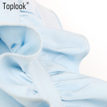 Toplook Ruffle Elegant Blue Summer Dress Short Sleeve Robe Party Dresses Femme Sexy Spring Runway 2017 O-Neck Mini Dress Vestido