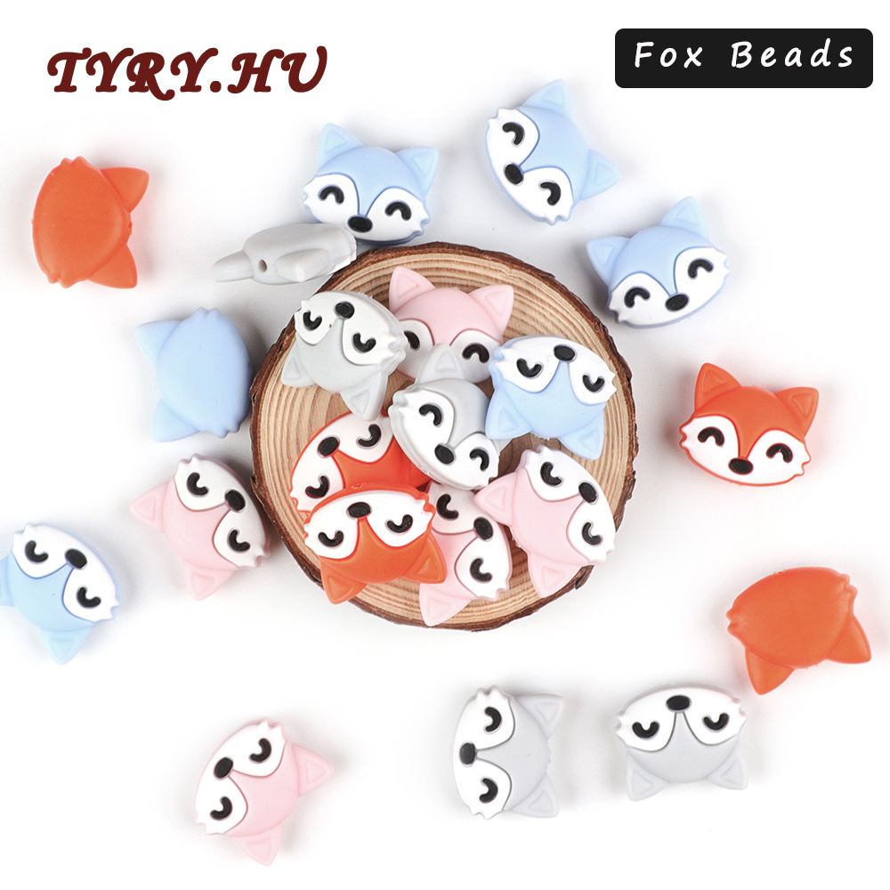 TYRY.HU 10pc Cartoon Fox Silicone Beads Food Grade Rodents Baby Teether Teething Toy DIY Pacifier Chain Accessorie Free Shipping