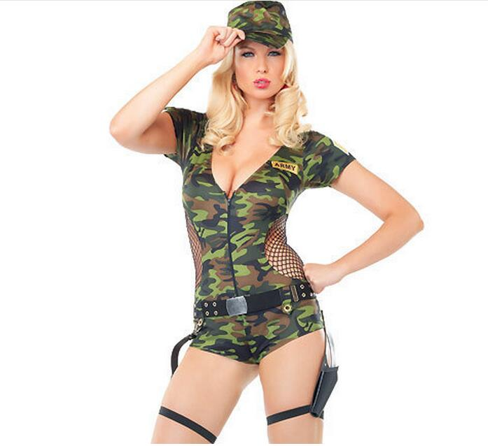 Camouflage Dresses <font><b>Sexy</b></font> Halloween Dress Costume For Women <font><b>Cosplay</b></font> Agent <font><b>Army</b></font> Hat Included Military Uniform Free Shipping image