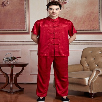 Discount Chinese Traditional Silk Satin Kung fu Suit Short Sleeve Clothing  Men Tai Chi Uniform SizeM L XL XXL XXXL