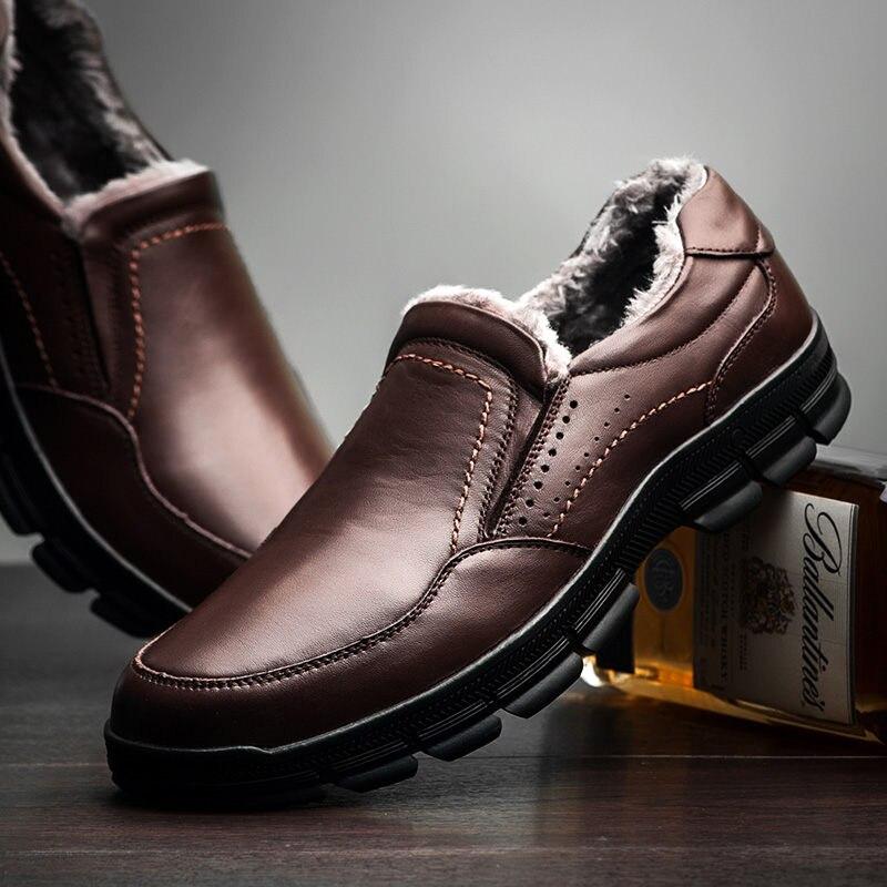 2019 chaussures d'hiver hommes en cuir véritable appartements chaud fourrure sans lacet hiver en cuir hommes mocassins décontracté chaussures de neige qualité hommes mocassins