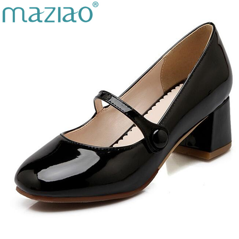 MAZIAO Women Shoes Low Heels Mary Jane Classics Ladies Shoes Pumps Autumn Round Toe Square Heels Female Solid Apricot Size 34-43 все цены