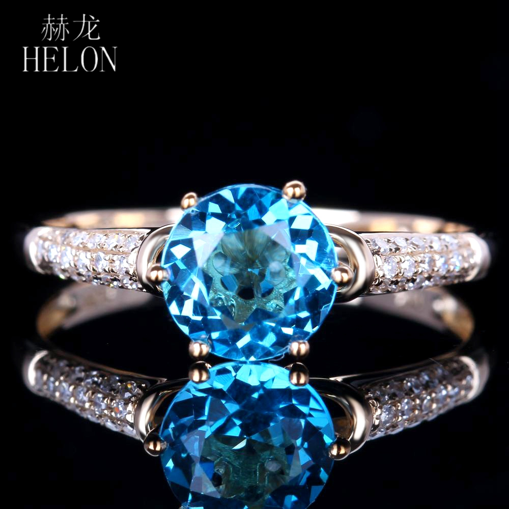 HELON Solid 14K Yellow Gold For Women Blue Topaz Ring 100% Genuine Natural Diamond Ring Romantic Gift Engagement Wedding Jewelry solid 14k rose round 13mm gold diamond natural blue topaz ring wedding ring hot sale