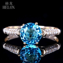 3c0499adc HELON Solid 14K Yellow Gold For Women Blue Topaz Ring 100% Genuine Natural  Diamond Ring