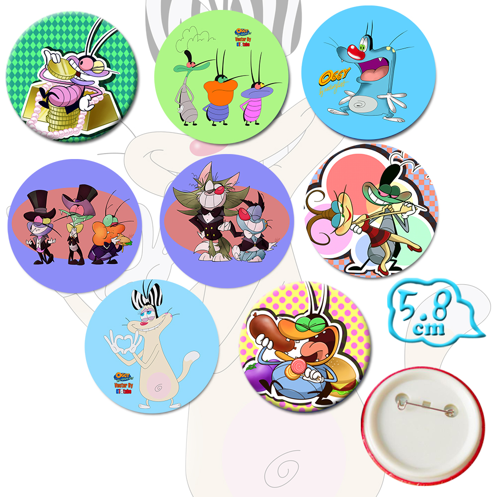 Giancomics Hot Oggy and the Cockroaches Anime Pins Button PVC Cute Cartoon Badges Brooch Chestpin Ornament Accessory Gifts