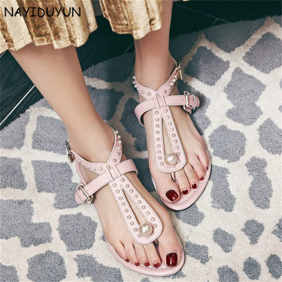 NAYIDUYUN   Womens Ankle Strap Spike Studded Roman Gladiator Sandals Cow Leather Party Flip Flops Casual Thongs Oxfords Shoes nayiduyun shoes women cow suede strappy sandals roman gladiator sandals platform wedges creepers party casual shoes summer size