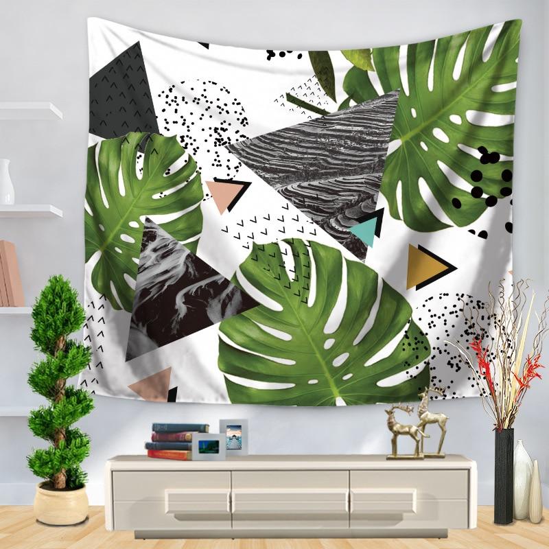 Instagram Hot Green Leaf Printed Tapestry Geometric Green Leaf Splicing Home Docoration Wall Hanging Carpet