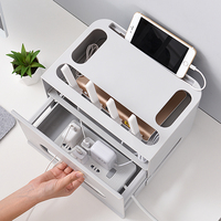 Double Layers Drawer Type WIFI Router Storage Box Wire Board Storage Protection Shell Cable Organization Bin
