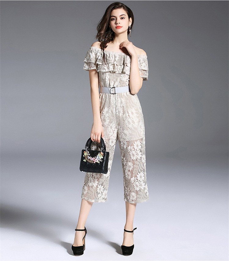 New Women Lace Strapless Pants Trousers Jumpsuit Bodycon Playsuit Women Clubwear Beach Party Romper Suit 2018 Sexy Lace Overalls 11