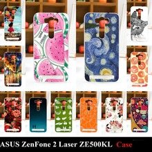 For ASUS ZenFone 2 Laser ZE500KL Hard Plastic Mobile Phone Cover Case DIY Color Paitn Cellphone Bag Shell