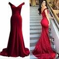 Sirena Sexy Off-Hombro de los Vestidos de Noche Plisados Barrer de Tren Barato Rojo Formal Celebrity Dress Nueva Llegada Sin Respaldo Vestidos de Baile