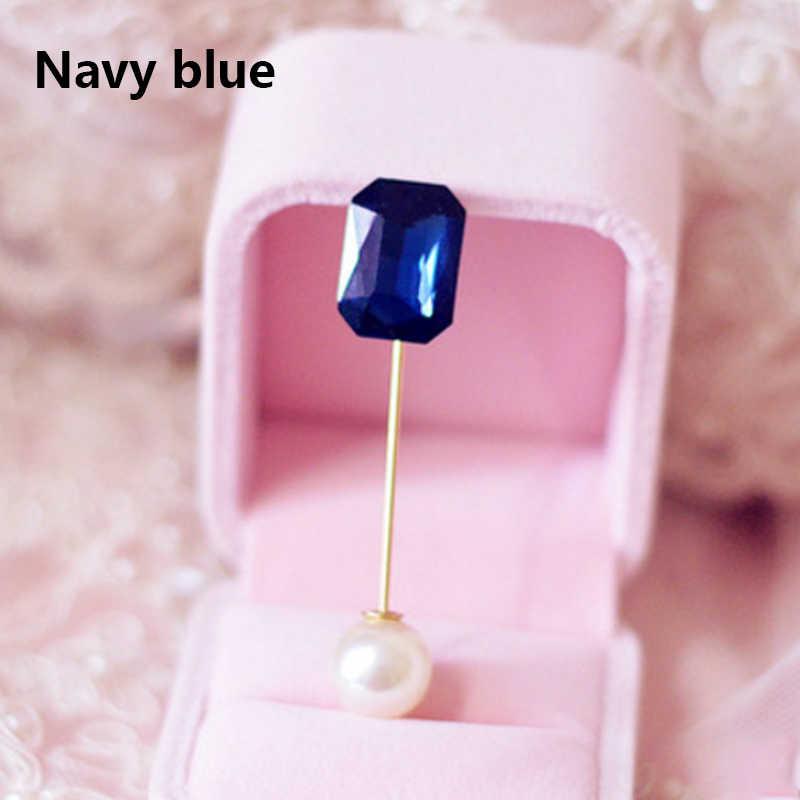 Lnrrabc Air Drop Crystal Disimulasikan Mutiara Halus Bros Pin Pernikahan Bridal Syal Klip Kerah Pin Pakaian Aksesoris