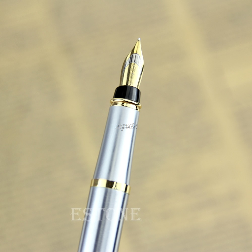 Baoer 801 Stainless Steel Metal Medium Nib Fountain Pen WritingStudent Office
