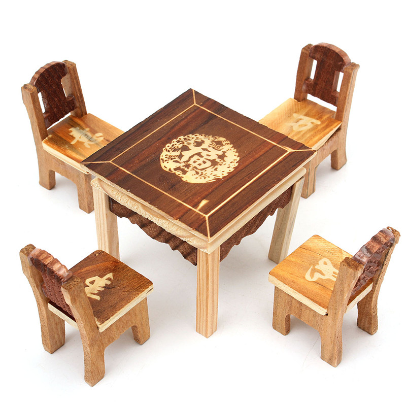 5pcs Set Vintage Wooden Table Chair Set For Dolls House Furniture Miniature Room Set Kids Mini