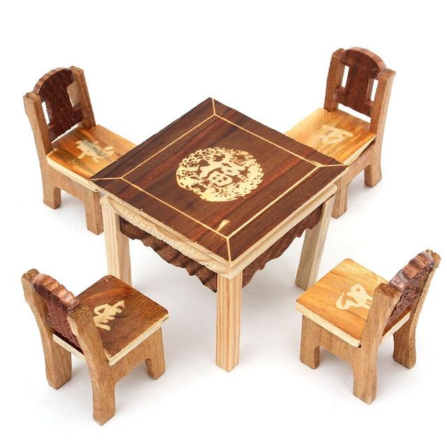 5pcs Set Vintage Wooden Table Chair Set For Dolls House