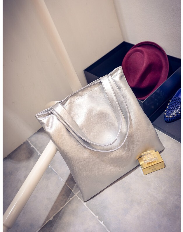 f4f081bef81e Aliexpress.com   Buy SMOOZA European and American retro big shopping packet  silver gold color women bags polished leather handbag women shoulder bag  from ...
