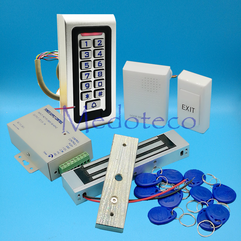 Full Kit Wood Metal Door Access Control System 125Khz Rfid Card Keypad Access Control System Kit + Electric Magnetic Lock weigand reader door access control without software 125khz rfid card metal access control reader with 180 280kg magnetic lock