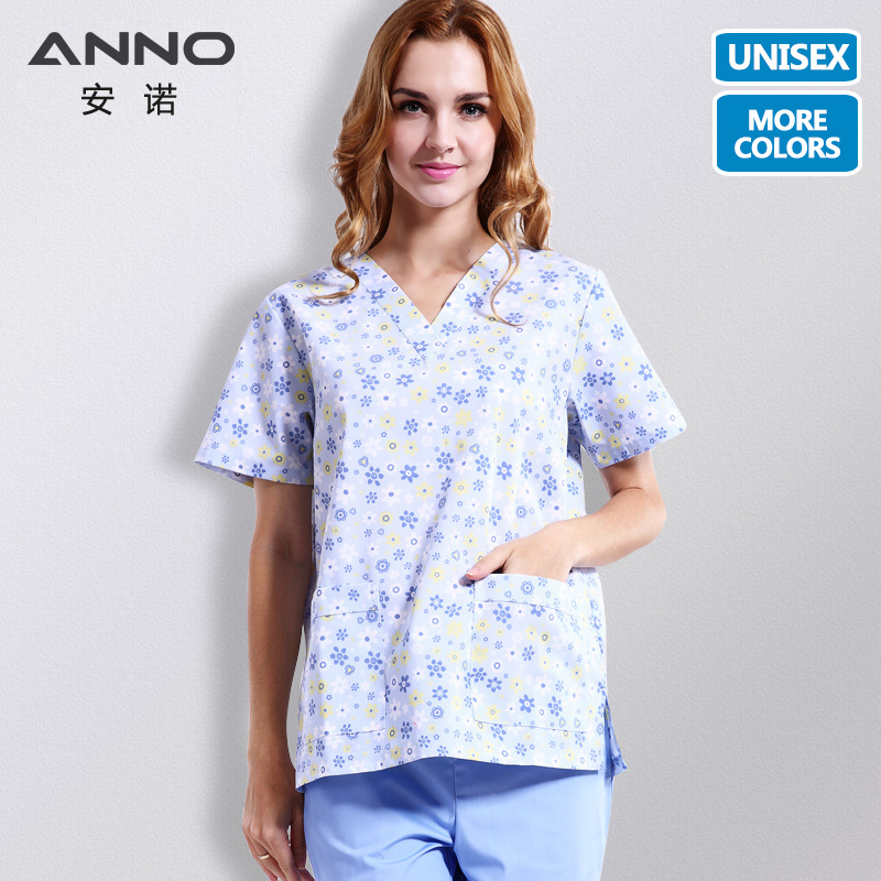 ANNO Summer Nursing Uniform Short Sleeve Nurse Scrubs Tops Pants Medical Uniforms In Scrubs Set Surgical Clothing Men Women
