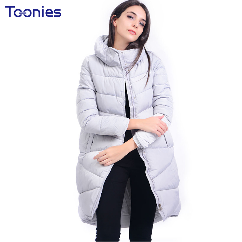 2018 New Fashion Long Womens Down Jackets Stand Collar Thicken Cotton Filling Winter Jacket Women Slim Doudoune Femme Longue