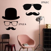 2015 new design cheap home decoration vinyl cartoon mustache clip art wall sticker removable PVC beard decals in bedroom or shop