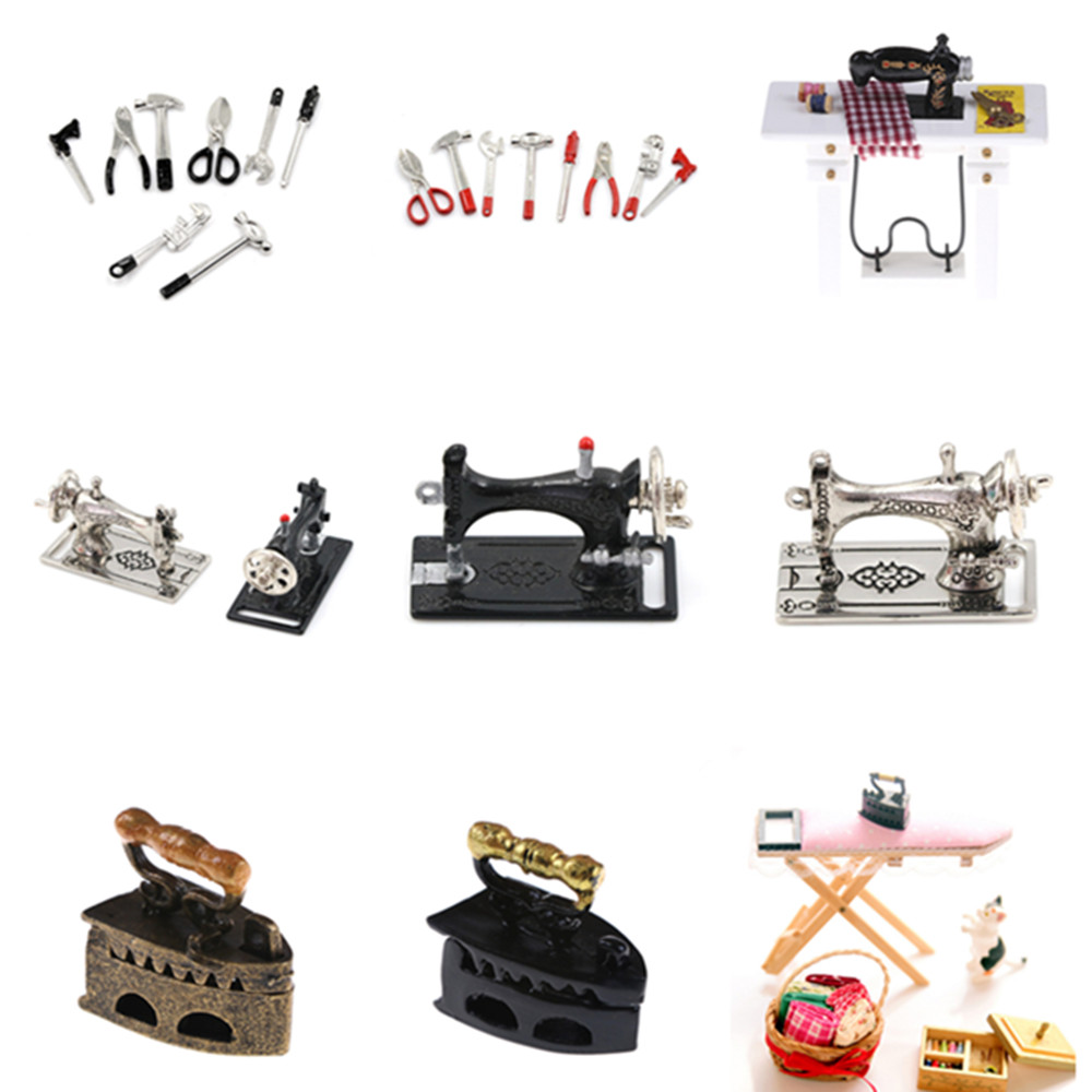 1:12 Miniature Sewing Box With Needle Scissors Kit Dollhouse Decoration Accessories Furniture Toy Vintage DIY Craft