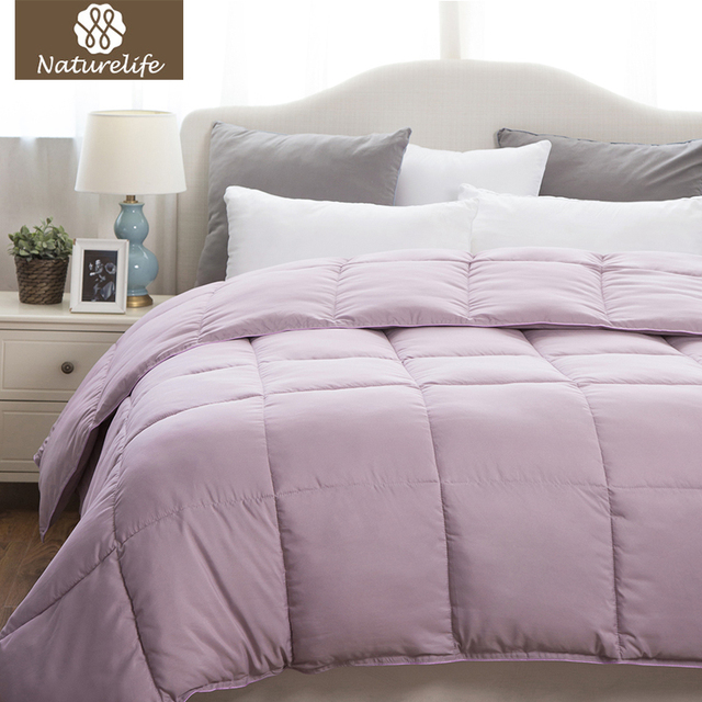 Naturelife Warm Luxury Duvet Comforter Insert With Corner Ties Solid Purple Lavender Quilted Down Alternative