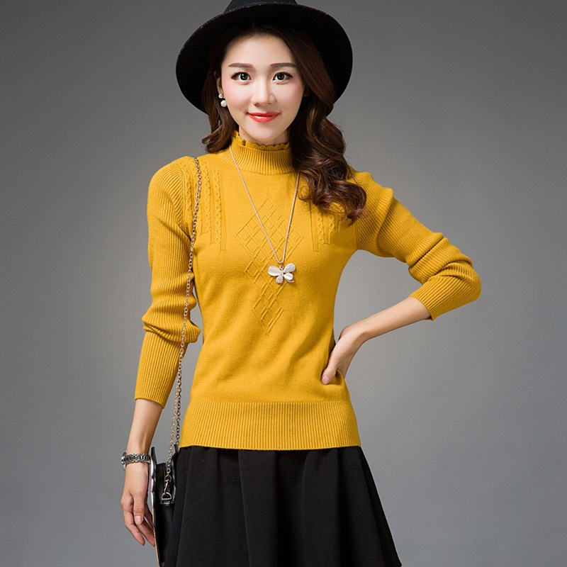 2017 New Women Autumn Fashion Korean Sweater Solid Design Slim Turtlenecks Pullovers Female sueter fall chompas mujer E010