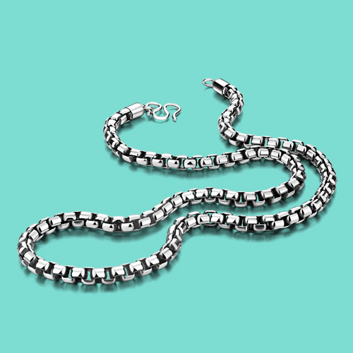 Men's Thai silver necklaces hiphop/rock 925 silver necklaces box chain design 56/61/66cm Solid silver jewelry for men best gift luke short silver rock