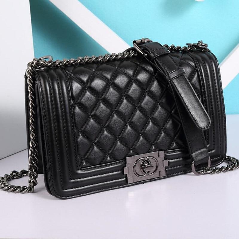 Women Quilted Chain Bag Crossbody Bags Famous Brands Luxury Handbags Diamond Lattice Chain Bag Messenger Bags Le Boy Handbag цена