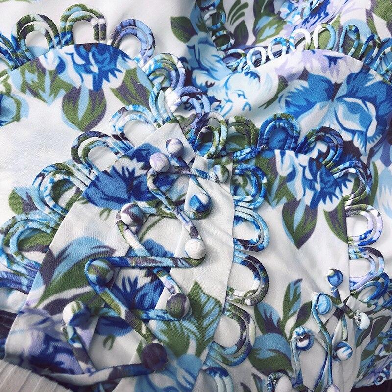Богемные юбки с цветочным принтом, женская летняя Высококачественная подиумная дизайнерская мини юбка трапециевидной формы с высокой тали... - 3