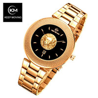 KEEP MOVING Rose Gold Watch Women Watches Ladies Steel Women's Bracelet Watches Female Clock Relogio Feminino Montre Femme