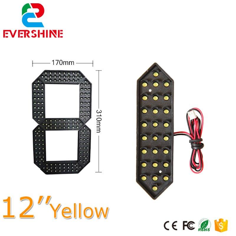 Module de numéros numériques de couleur jaune prix du gaz led 7 segments des modules pour 12 pouces